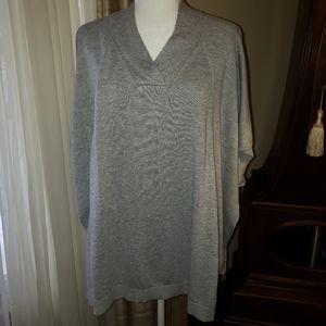 Woman Within Gray Poncho Style Sweater, size 1X/2X